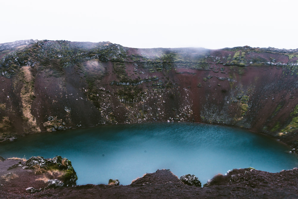 Kerid crater lake, it used to be a volcano but collapsed into this sick crater. Oh nature, you're so cool.
