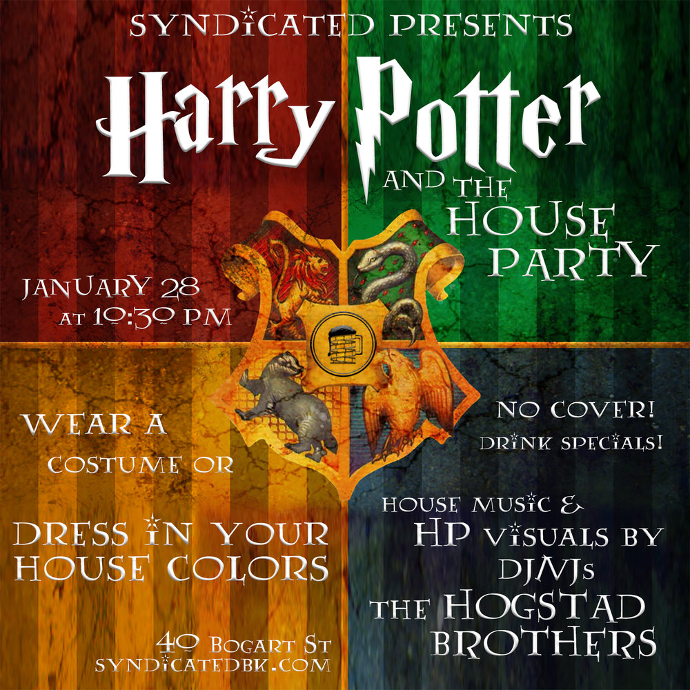 Aright, folks this one is gonna be interesting. You'll love this party if you love blaizin hot, soulful house music and you'll love this if you geek down with some Harry Potter. If you're in both of those circles on the Venn diagram, ... well you might just pee yourself. No cover, RSVP for guaranteed entry at eventbrite link by clicking on flyer. And now, we'll see you all at the marches today!