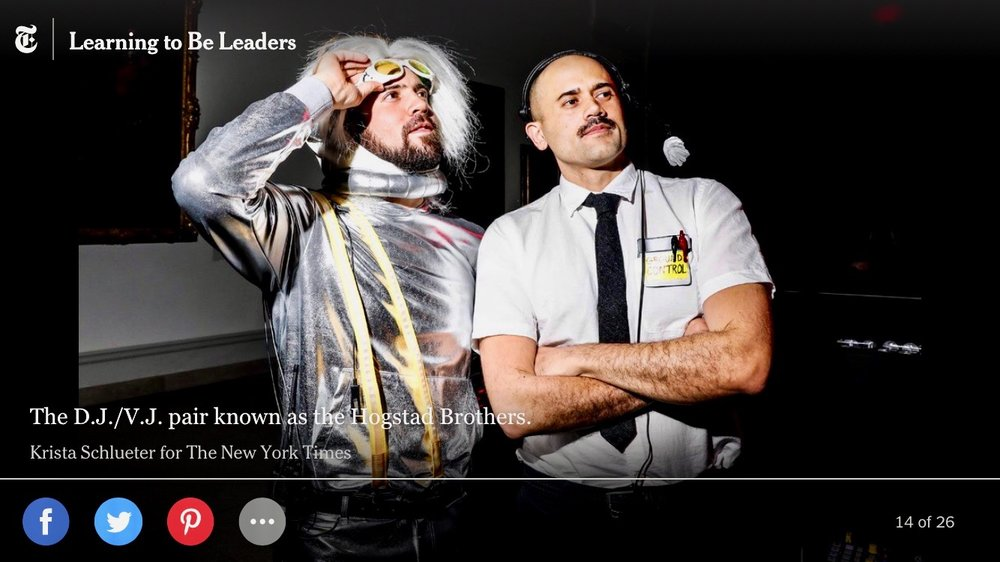 The Hogstad Brothers in the NYTimes as Ground Control and Major Tom after performing a David Bowie DJ/VJ set at Brooklyn Museum's Artists Ball.