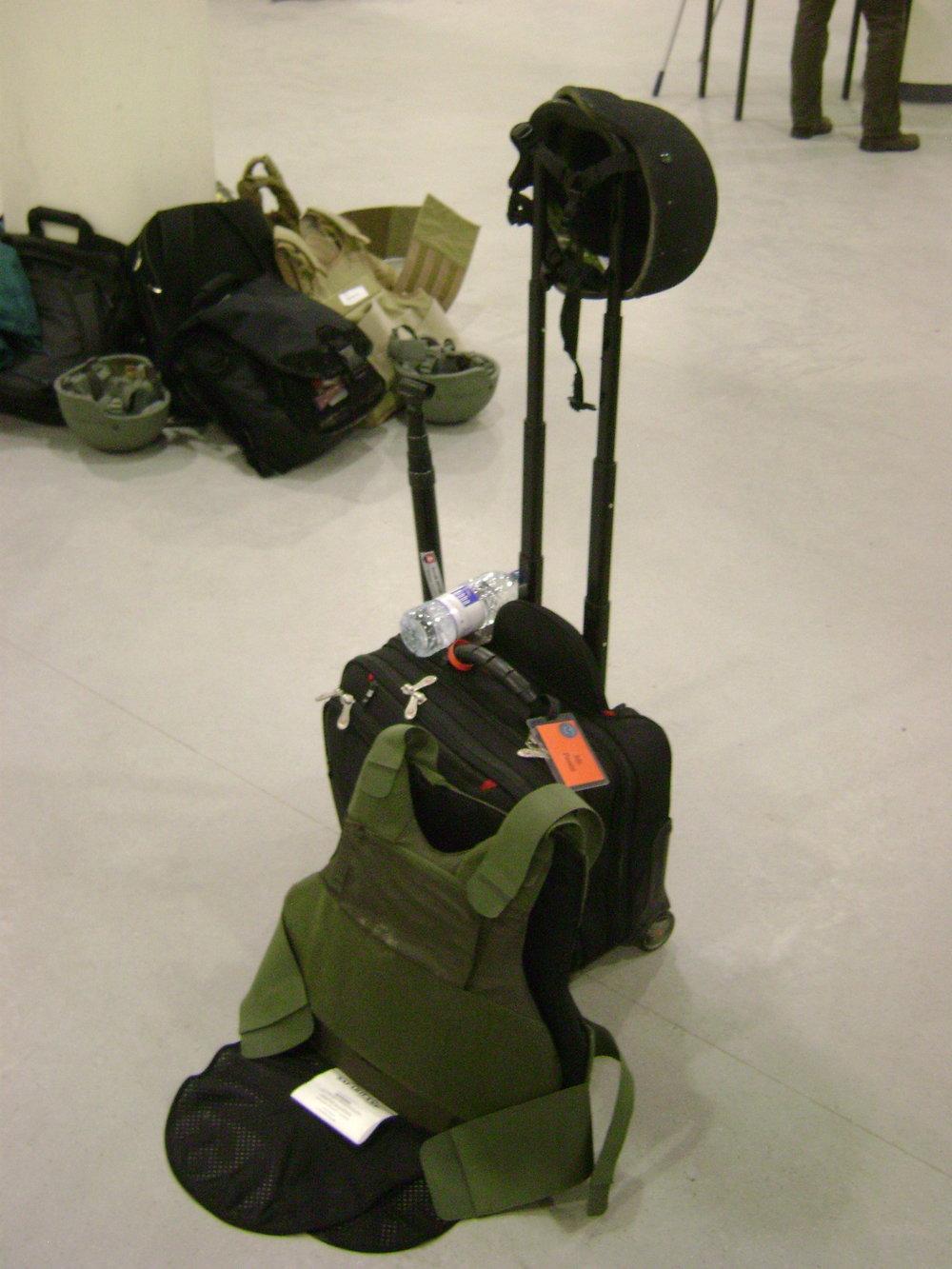My gear on a war zone trip.