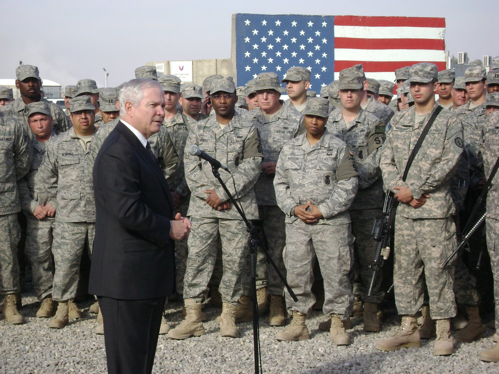 Sec Gates speaks to the troops, forward operating base, Afghanistan, 2009.
