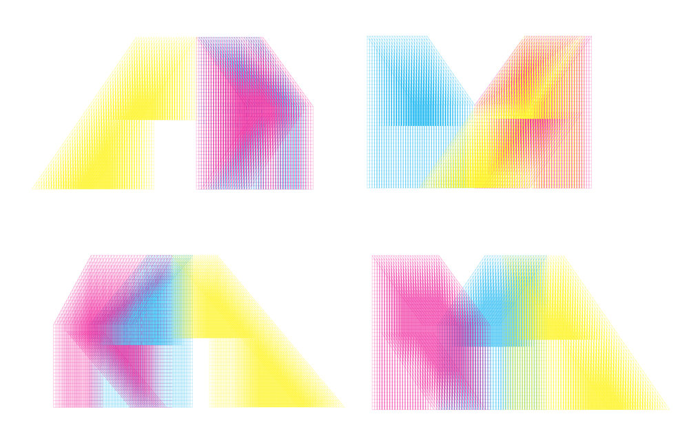 Elevation and color overlap studies. As one moves around the objects, cyan and magenta mix to become purple, while cyan and yellow blend into green. Image courtesy of SPORTS.