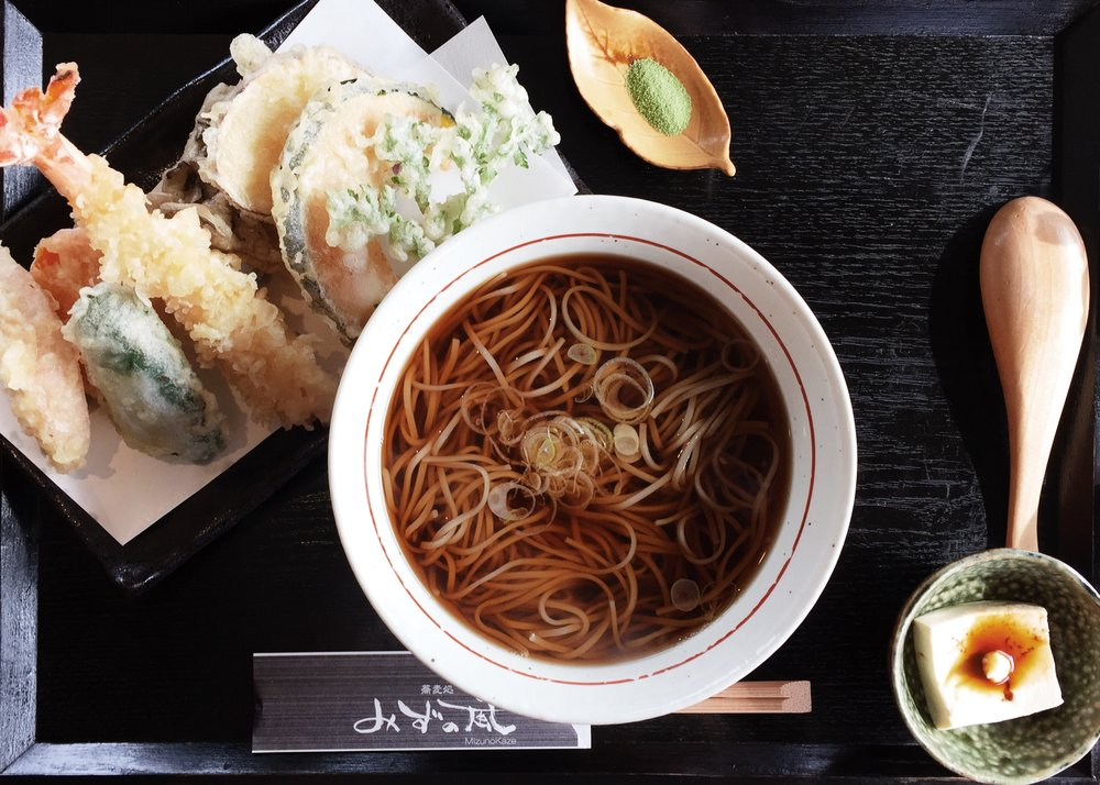Try this  hearty meal of Soba noodles in   Mizunokaze   downtown.
