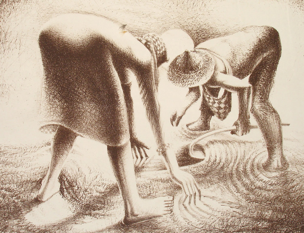 John Biggers, The Seed, Lithograph, 22 x 30 in., 1983