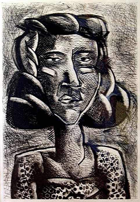 Karen Broker, Portrait I, Etching, 34 x 22 in., 1987