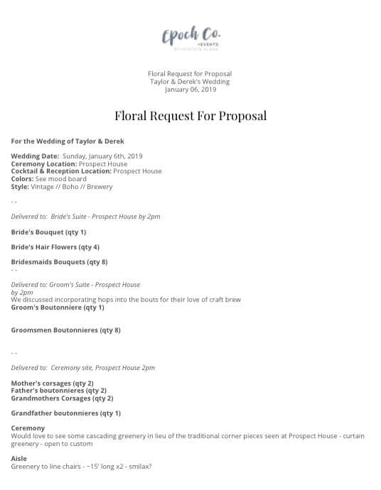 Floral proposal