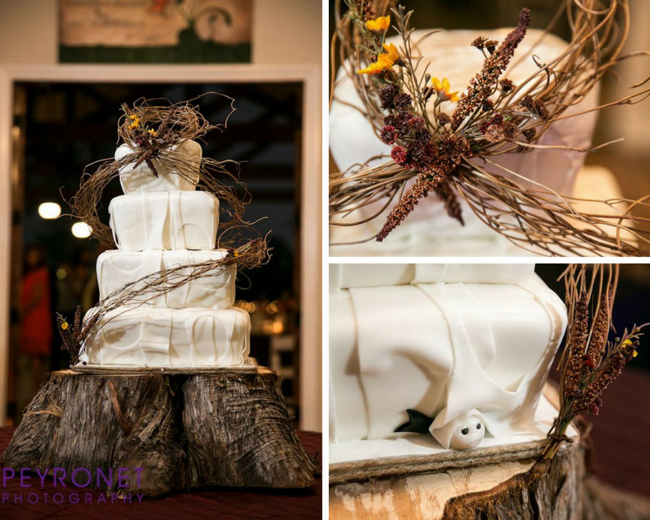 rustic square fall brides cake jack skellington tree stump stand sandees sweets epoch co peyronet photography