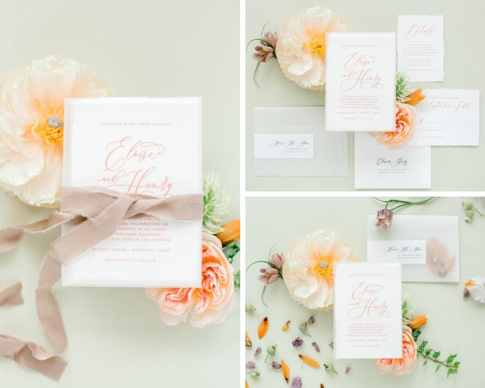 Photographer : Kasey Lynn Photography ||  Floral : Mibellarosa ||  Stationery : Paper Tie Affair ||  Venue : Hughes Manor, Houston, Texas