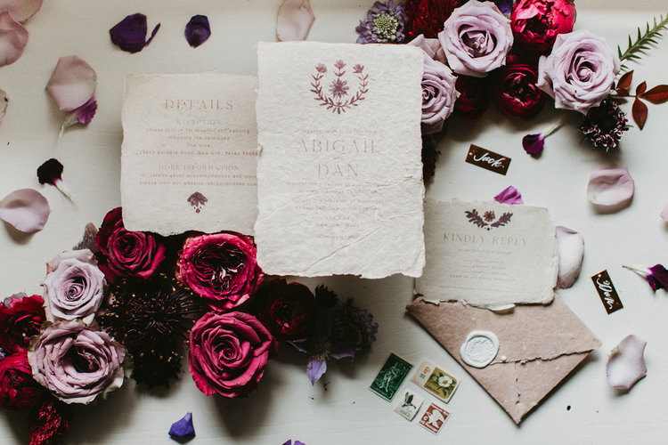 handmade paper stationery minimal romantic organic moody wedding coordinator planner epoch co college station texas