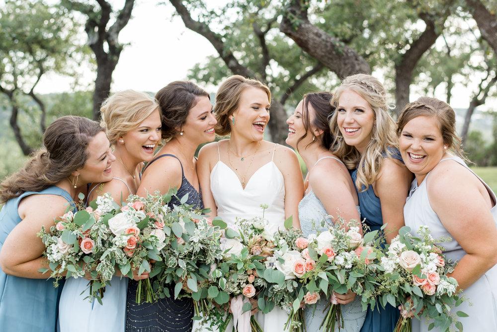 blue bridesmaid dresses different colors austin wedding planner coordinator designer epoch co+ erin elizabeth photography