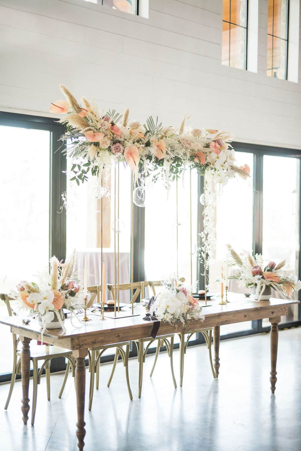 boho modern palm springs white pink peach pampas floral wedding inspiration designers epoch co floral by urban rubbish