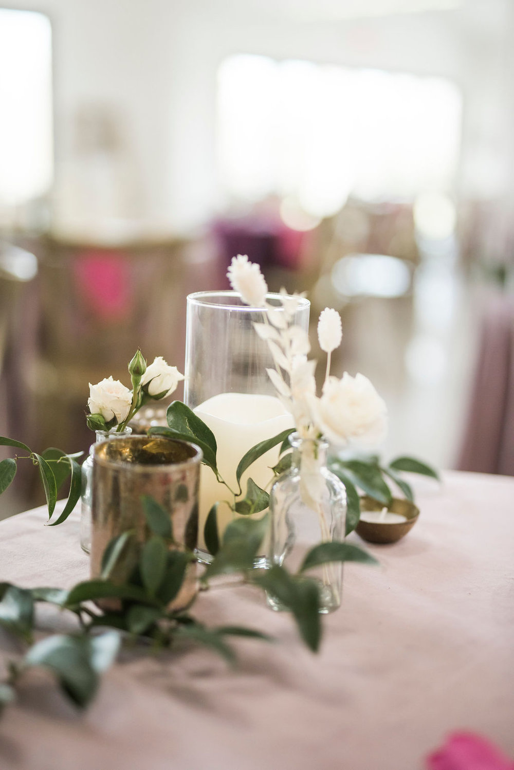 MINIMAL CANDLE WHITE FLORAL SMILAX CENTERPIECE WEDDING INSPIRATION COLLEGE STATION COORDINATOR EPOCH CO