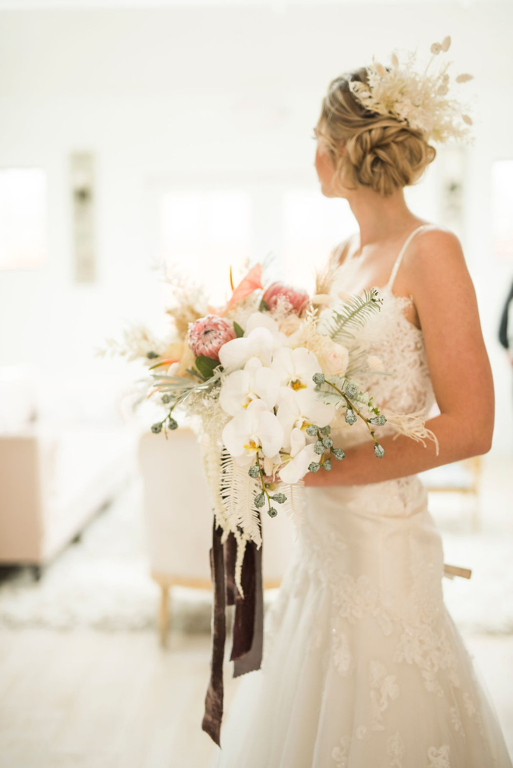 Modern Boho  Beachy Bridal hair bouquet inspiration destination wedding planner epoch co texas