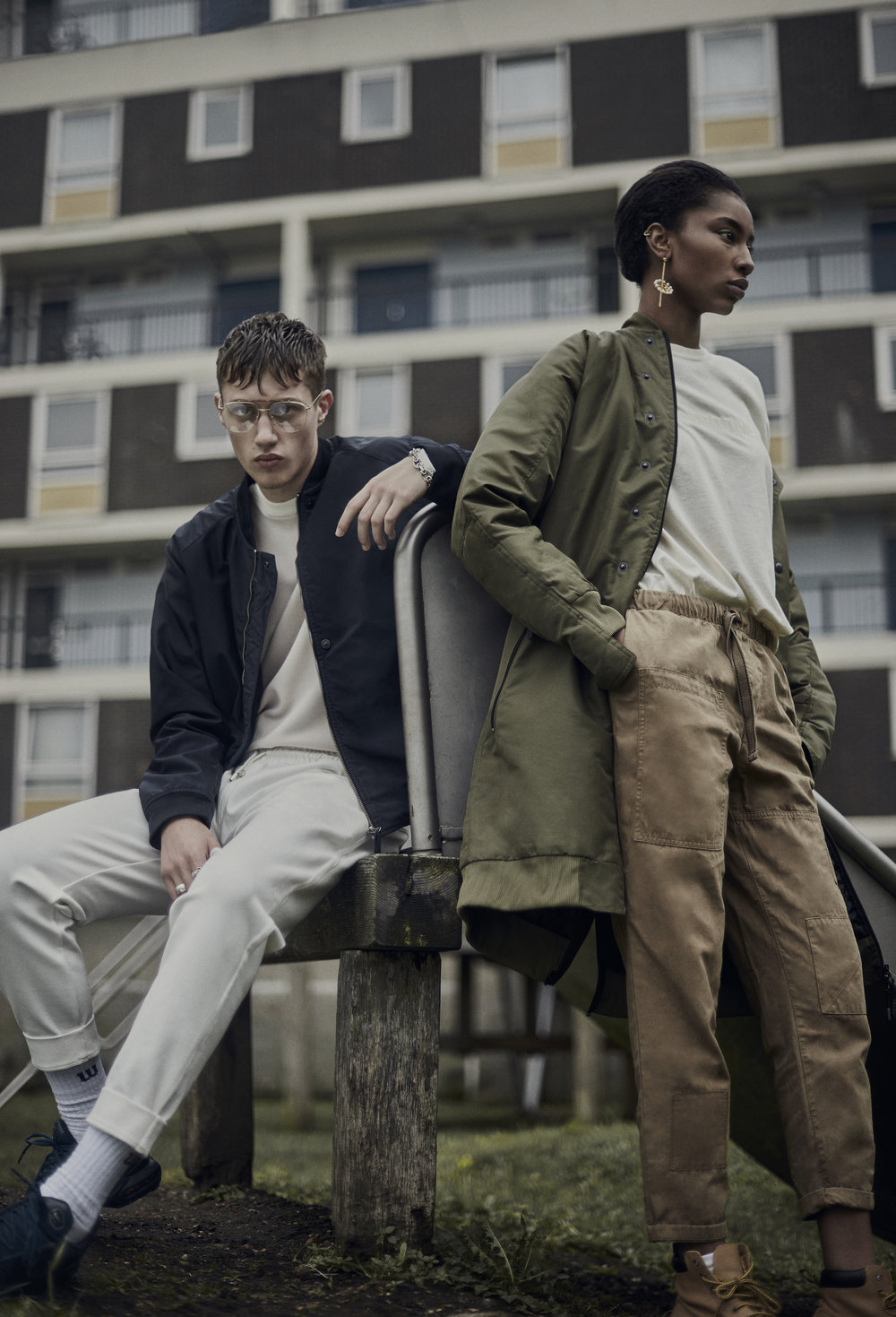 NOTION MAGAZINE'London Habits'  - London's concrete estates have inspired countless works of art and culture over their history. A melting point between the city's architectural past and it's modern inhabitants, it's that spirit that Dan Knott and Chloe Cammidge channel in their new editorial London Habits. Set around the city, muted tones and inner-city staples combine to create a contemporary editorial that still manages capture elements of London's past. Photography Dan KnottStyling Chloe CammidgeHair William WebbMakeup Quelle MaquilleurModels Roman @ Premier London & Kiara @ D1 Models
