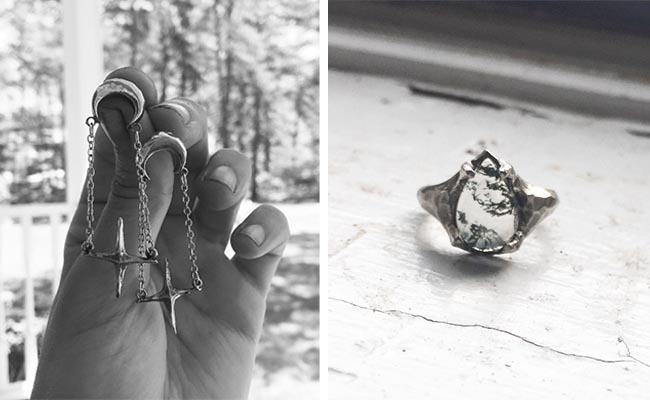 Mary Gallagher | Sidus Drops Studs |Moss Agate Doublet Ring