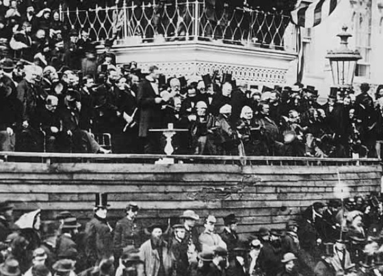 Lincoln Delivers his Second Inaugural Address, March 4, 1865.