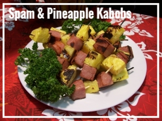 "SPAM & PINEAPPLE KABOBS   We offer this novelty dish of Hawaii for our daring guests. Did you know that Hawaii is the #1 consumer of spam in the entire world? For those seeking an ""authentic"" taste of Hawaii, try our lava-rock grilled spam and pineapple kabobs and offer your guests the real-deal grindz of Hawaii.  Quantity of 25 kabobs, $35 Quantity of 100 kabobs, $110"