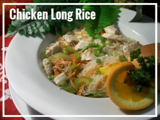 CHICKEN LONG RICE     Whether at the Paradise Cove in Oahu or the Old Lahaina Luau in Maui, you will definitely see Chicken Long Rice on the menu. This dish consists of thin rice noodles, freshly sliced chicken breast, our own blend of seasonings and a variety of sautéed veggies, ginger, and garlic. This entree is also available as a vegetarian dish without the chicken. Medium Tray, Chicken - sufficient for approximately 10-15 guests, $65 Large Tray, Chicken - sufficient for approximately 20-30 guests, $130 Medium Tray, Vegetarian - approximately 10-15 guests, $50 Large Tray, Vegetarian - sufficient for  10-15 guests, $90