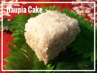 HAUPIA CAKE   Truly, the most authentic of Hawaiian desserts. White cake is layered in Haupia ( a coconut filling and popular dessert in Hawaii ) and topped with a lightly whipped frosting and sweet coconut flakes. We brag about our famous coconut haupia cake having been written up in the newspaper and having won the heart of many fans! always made fresh by chef kelly! One cake may serve up to approximately 20 guests. Each Cake, $40 HAUPIA CAKE