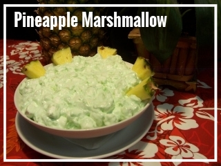 PINEAPPLE / MARSHMALLOW SALAD It's a classic dessert dish perfect your spread. A mixture of freshly crushed pineapple, pistachio pudding, cool whip and marshmallow make for a light, colorful treat on any buffet table. Medium Tray - sufficient for approximately 10-15 guests, $45 Large Tray - sufficient for approximately 20-30 guests, $80