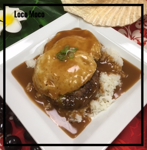 Beef loco moco   This classic entree in hawaii is loved by locals and tourists alike! it all started in the 60 when local surfers needed their carbs after a long day catching waves. they took rice and beef, piled high, added fried eggs and smothered it in gravy! if they only knew what a legendary, local dish this would one day be! we bring it to your luau party just as described- rice, beef, eggs, gravy! we top ours with a little green onion and there you have it!  Medium Tray, Sirloin - sufficient for approximately 10-15 guests, $60 Large Tray, Sirloin - sufficient for approximately 20-30 guests, $120