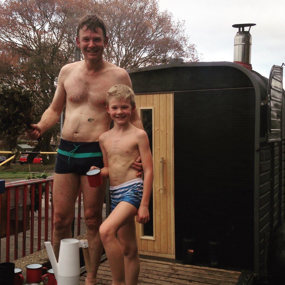 Family enjoying a weekend sauna overlooking the hills above Stocksbridge.
