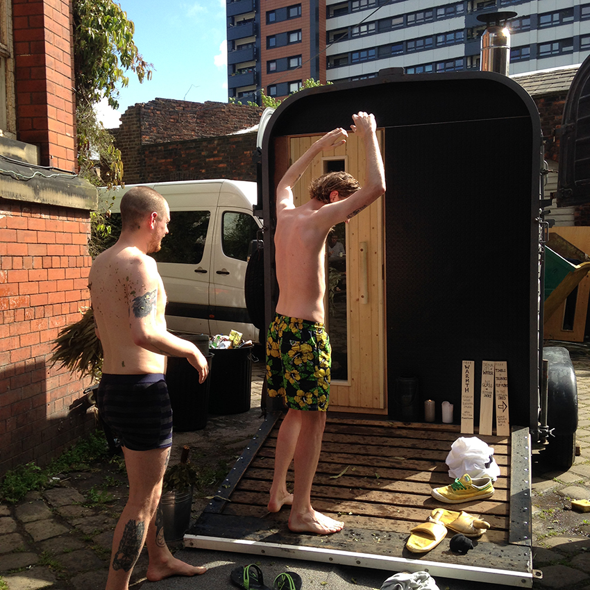 Morning saunas in the yard at Islington Mill.