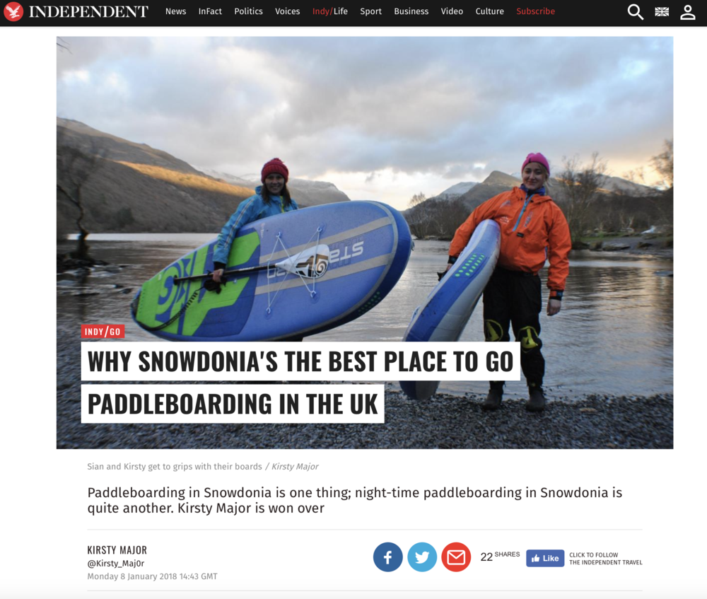 The Independent - Sian Sykes | Psyched Paddleboarding | SUP | North Wales | Snowdonia | Anglesey