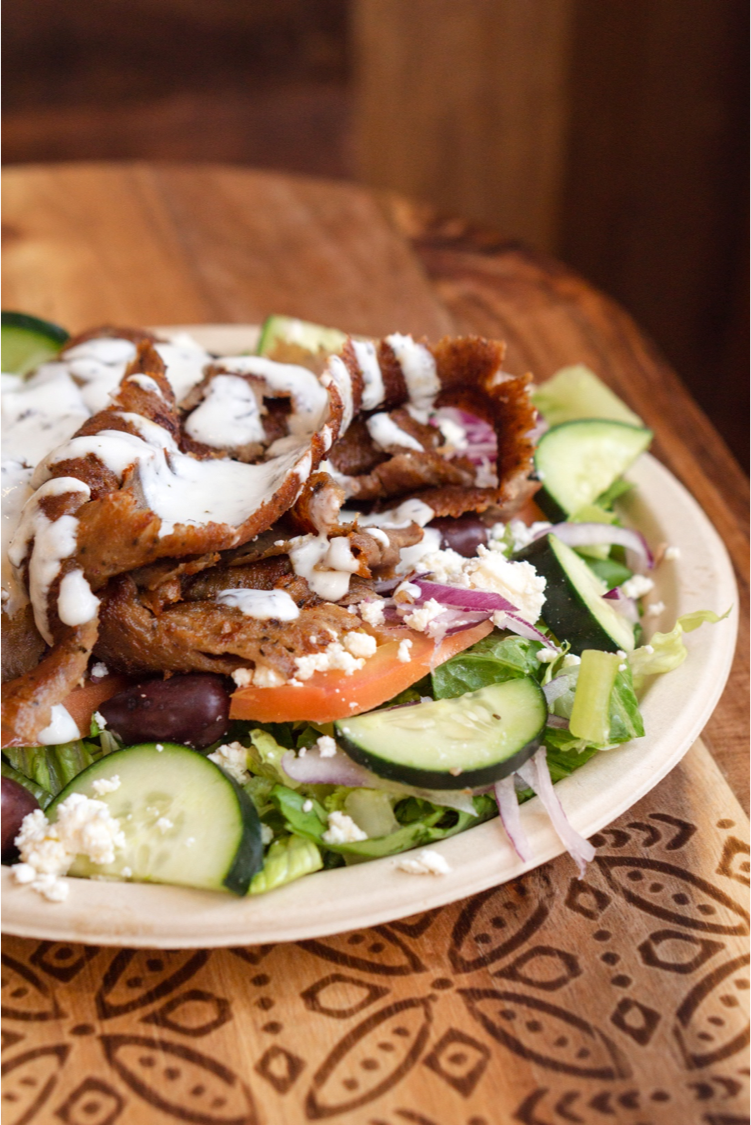 Greek Salad with Gyro and Feta Cheese