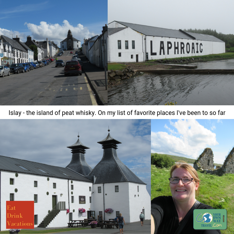 "Western Scotland Island - If you are a fan of Scotch Whisky then you may recognize the name of Islay. This is a tiny island off of the coast of western Scotland and they are known for their peaty whisky's (there's about 7 distilleries open on the island). I wasn't a big fan of smokey/peaty whisky until I went to Islay. Now that's all I want! We first did an excellent tour at Laphroaig which taught us the history and methods used in making peat whisky. Was super interesting and the smell of the smoky peat is indescribable but reminds me of a fall bonfire. We enjoyed lunch(es) at the Ardbeg Distillery in their great restaurant and we followed the country dirt road to the Kilchoman Distillery - they are the only distillery on the island to grow their own barley (rest import it). You drive across the peat fields to get around the island and the road feels bouncy - it is a weird feeling! The locals were all super friendly and I'd go back in a heartbeat. I also loved the bunnies that frequented our garden every evening and the sounds of sheep ""talking"" to each other from across the hills. Truly peaceful.Pictured (clockwise from top left): The town of Bowmore with their famous round church at the top, the Laphroaig Distillery, me at one of the historical ruins on the island, and the Ardbeg restaurant/distillery"