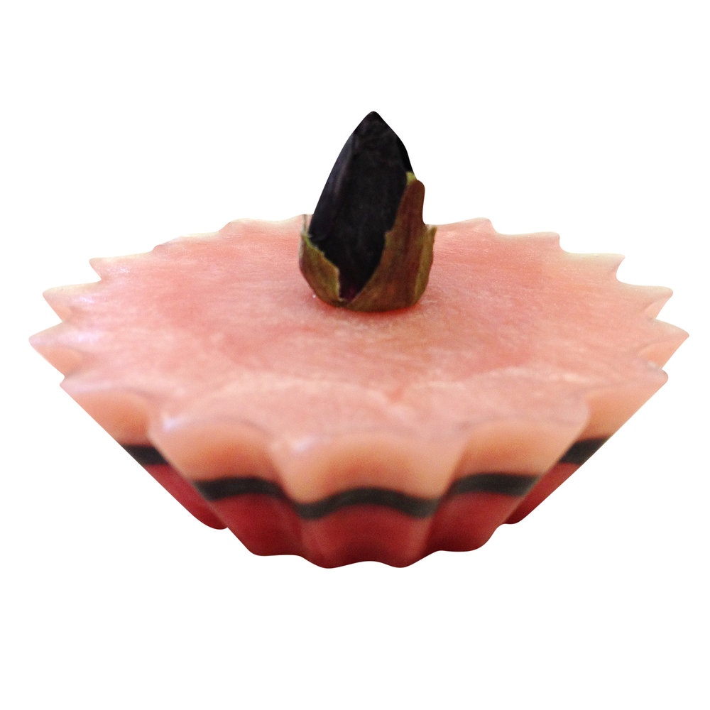 Layered cupcake soap with a rosebud