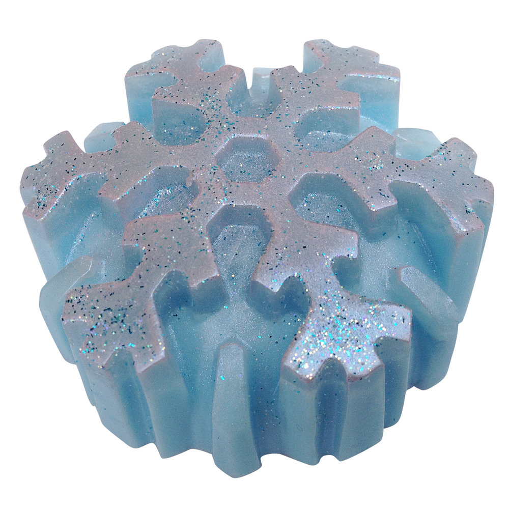 Glitter snowflake soap made on the m&p glycerin soap making course