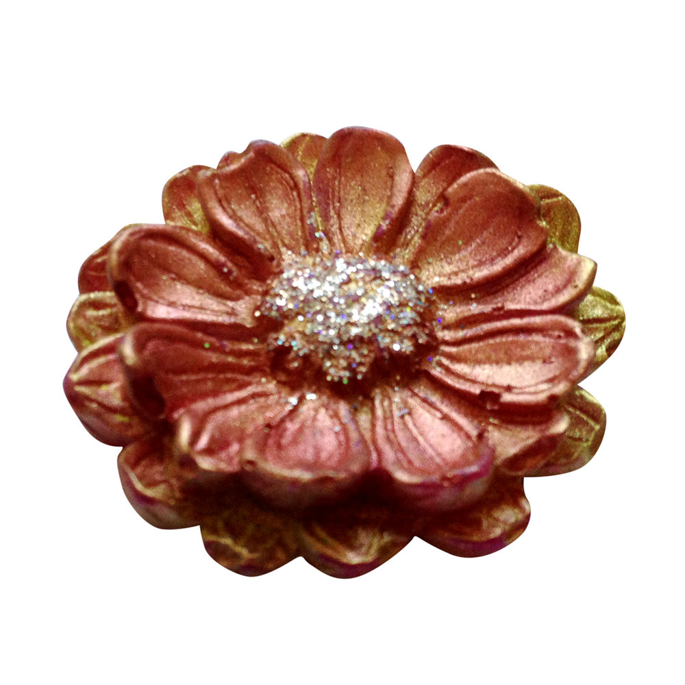 Vintage soap flower made by a Soap School student