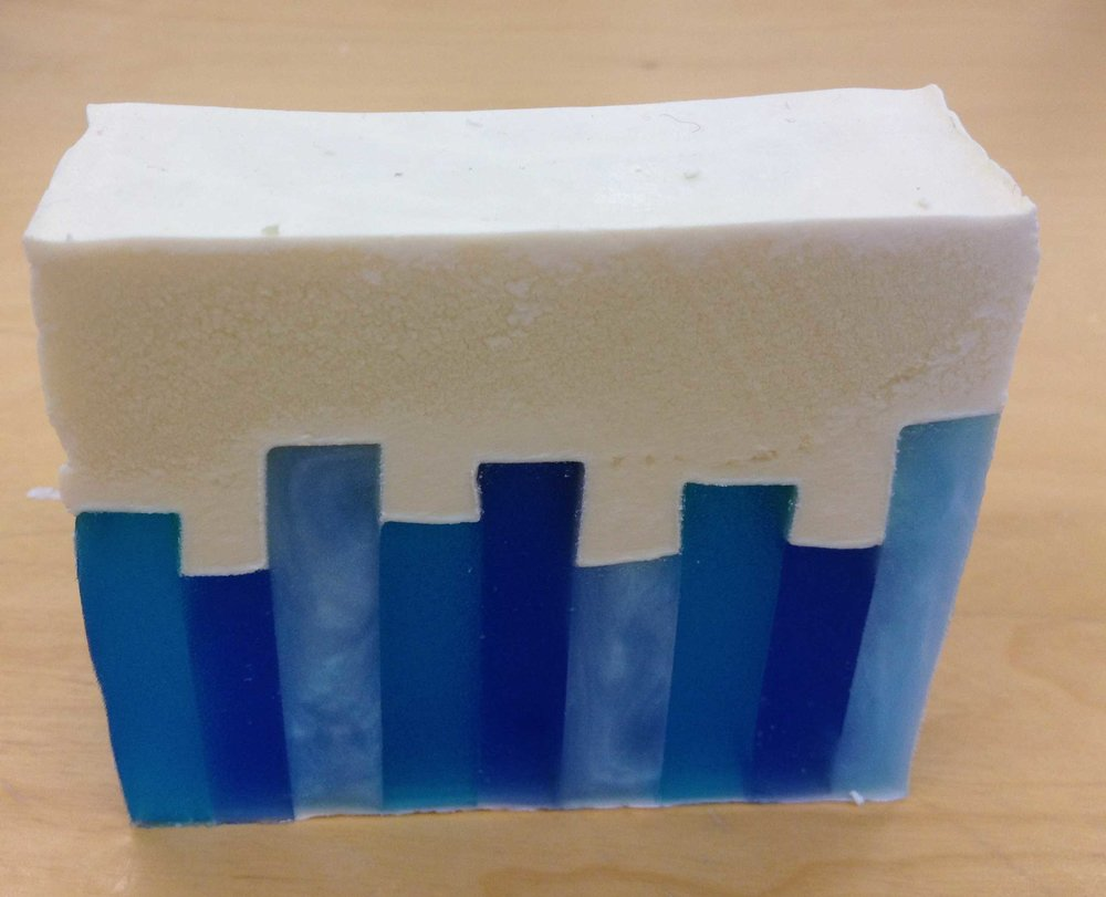 Skyline soap made with the hybrid soap making method