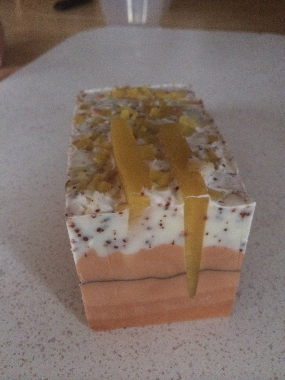 Orange and rose hip hybrid soap from Soap School