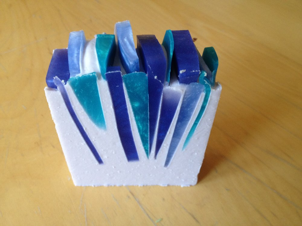 Shard soap made with the hybrid soap combination