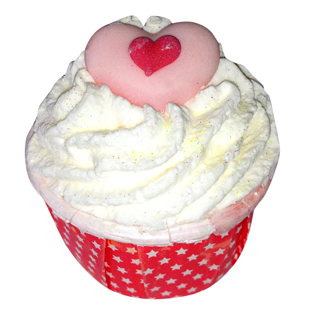 Heart bath Bomb Cupcake from the advanced bath fizzles and bath treats course