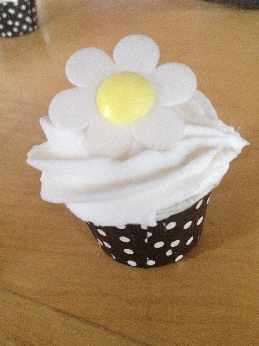 Daisy cupcake bath bomb made at Soap School