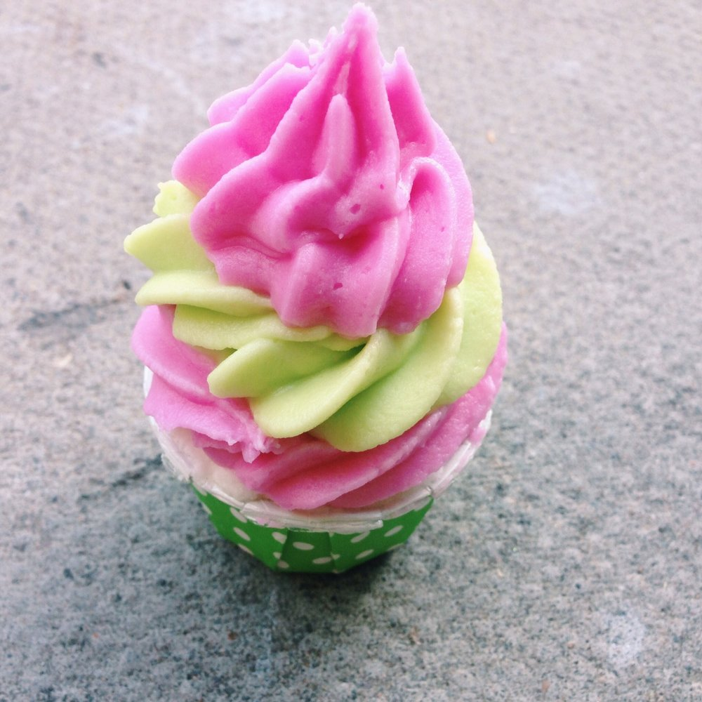 Triple high strawberry avocado cupcake bath bomb