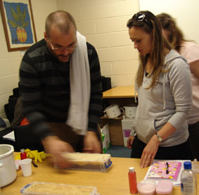 Students making soap on a day course