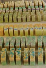 Picture shows some of the soaps the students made on a one day soap course with Soap School
