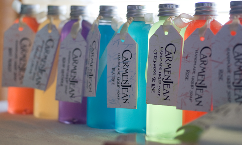 Liquid soaps made by a Soap School student