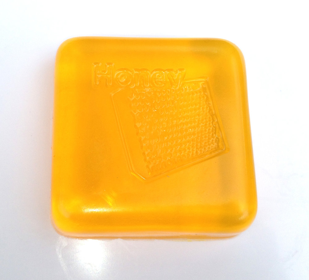 Hive frame depicted on a honey soap
