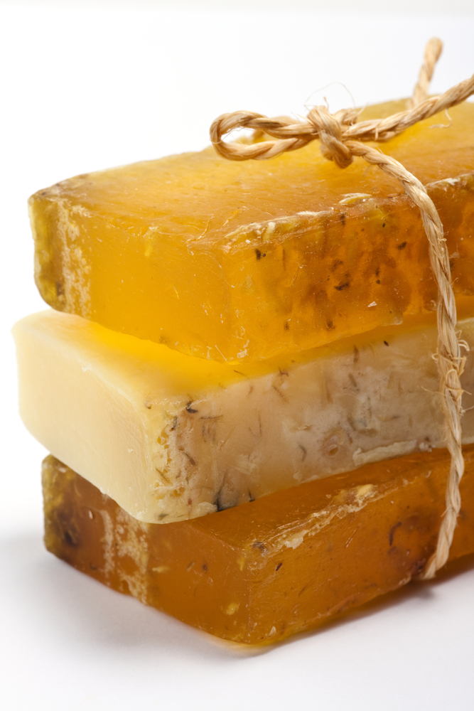Trio of natural honey and beeswax soaps