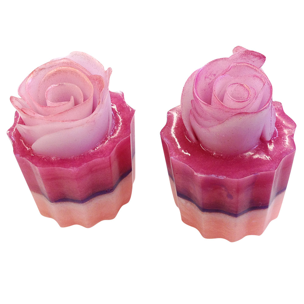 Cupcake soap with hand sculpted soap flowers
