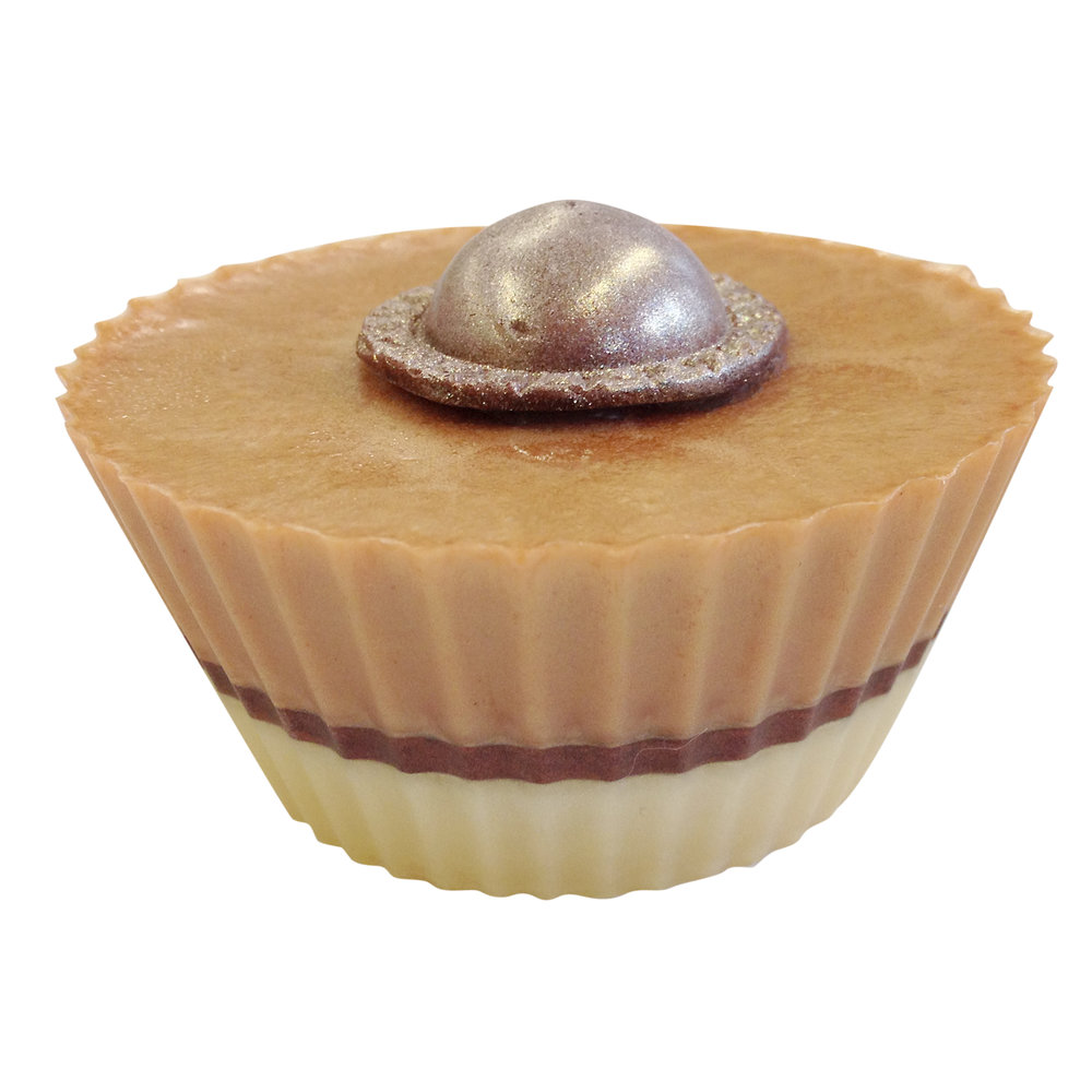 Caramel vanilla soap cupcake made at Soap School