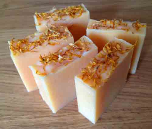 Calendula cold process soap made at Soap School