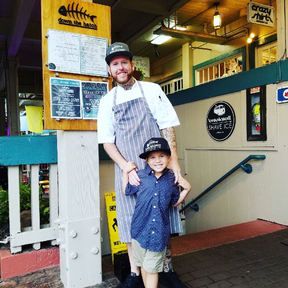 Chef Lawrence with son Matias in front of DTH-Maui