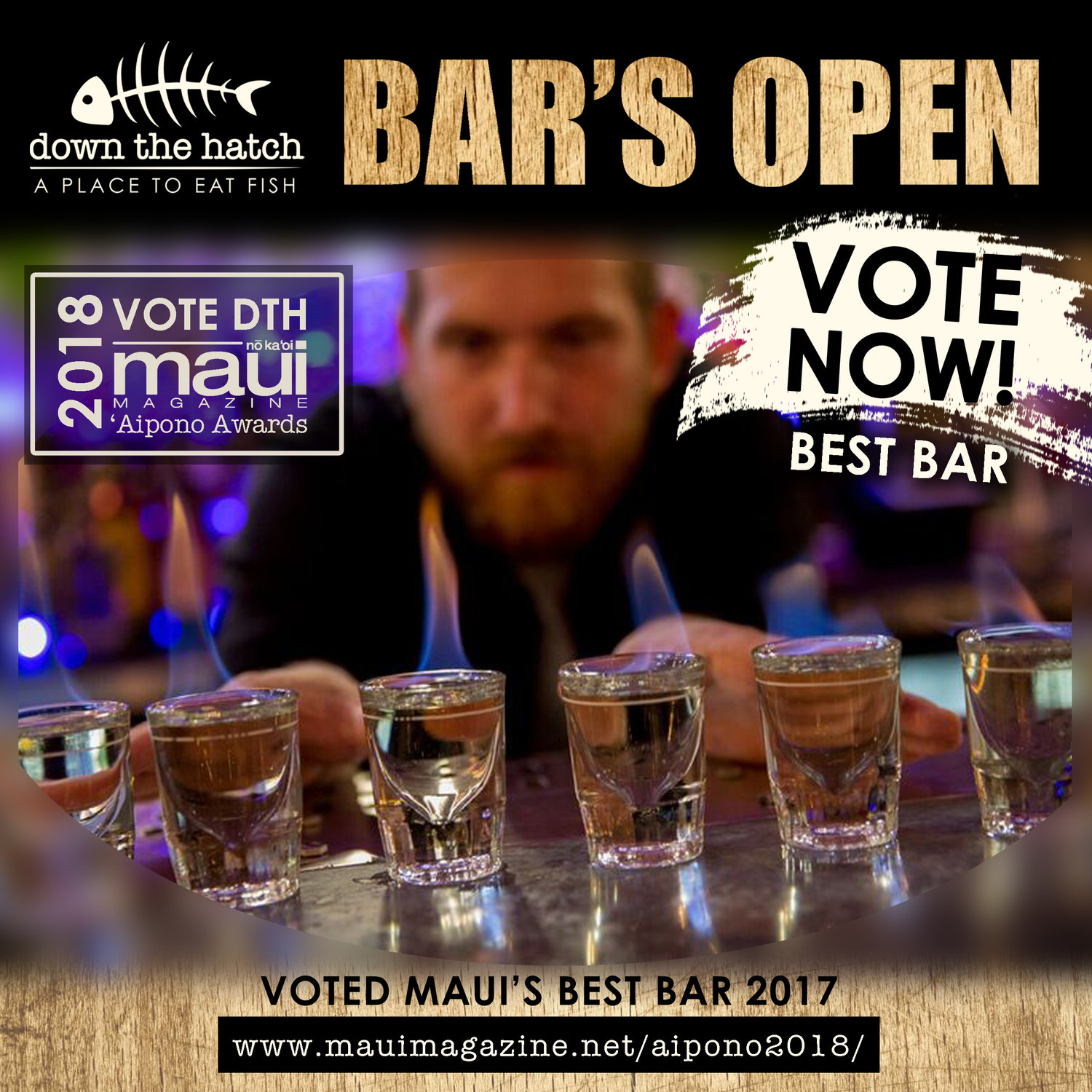 Vote for DTH Maui as BEST BAR!