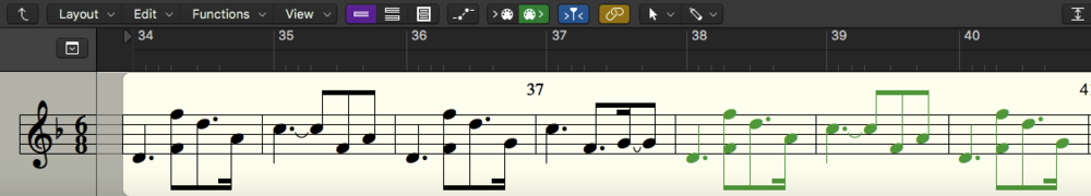 The Guzheng line is my favorite that I've written so far, just based on how it sounds. I was able to find a really excellent sounding Guzheng VST, which works perfectly for the wide range of octaves I have written (including, not pictured here, another written line specified for Guzheng tremolos).